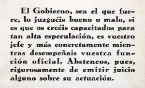 El gobierno a principio de los años treinta advierte a los empleados públicos contra las críticas. (Fuente Archivo Central Ministerio de Hacienda)