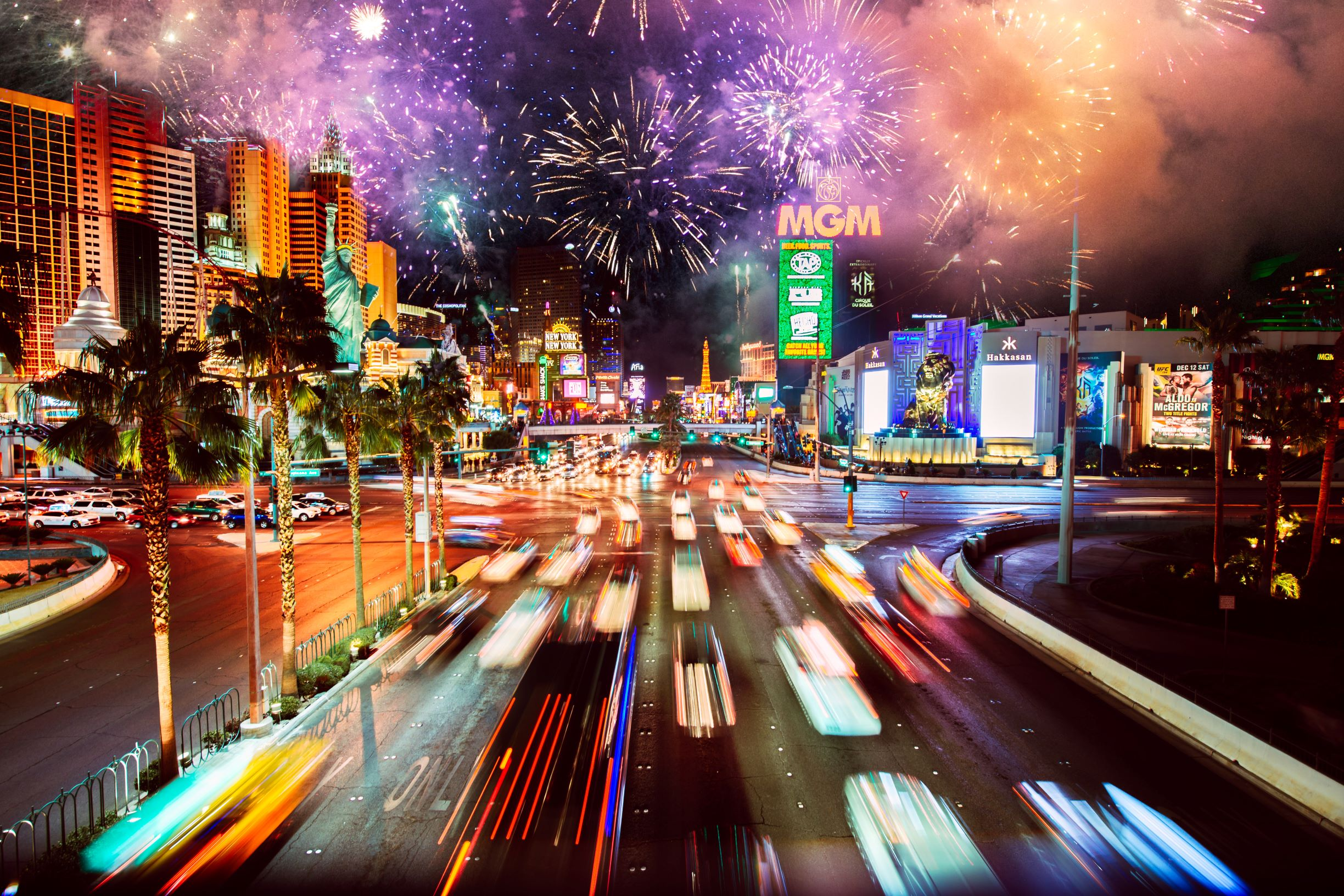 New Years Celebrations With Fireworks In Las Vegas redd